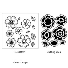 ZhuoAng Blooming flowers Cutting Dies and Clear Stamp Set for DIY Scrapbooking Photo Album Decoretive Embossing Stencial