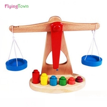 FlyingTown Montessori teaching aids balance scale baby game early education wooden puzzle children toys