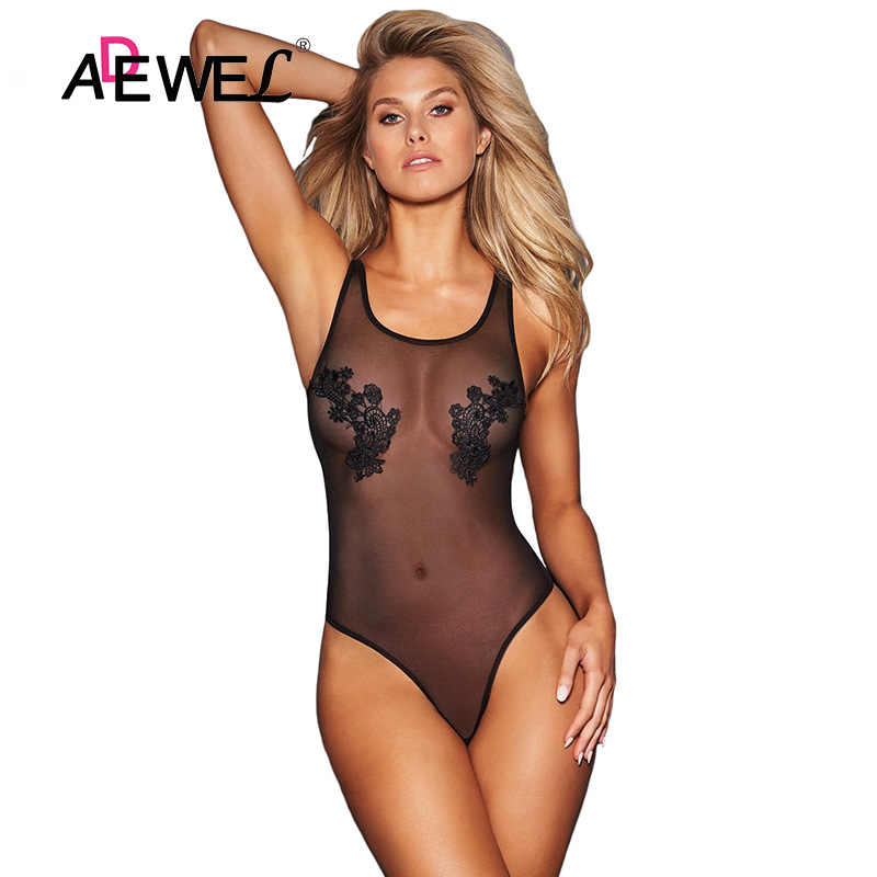 ADEWEL negro malla transparente Bodysuit mujer Sexy sin mangas encaje Floral parche Skinny Bodysuits Club Body Jumpsuit mujer Rompe