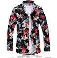 9 cores! Outono nova mens fashion camisas de alta qualidade rose flor imprimir plus size 3XL 4XL 5XL 6XL 7XL camisas florais homens