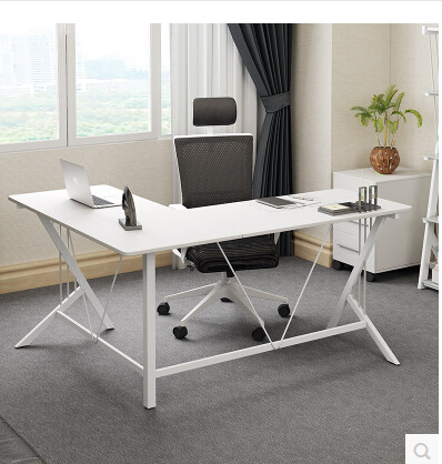 Corner computer desk desktop.. Steel-wood desk. L. double desk. The corner of the table the double