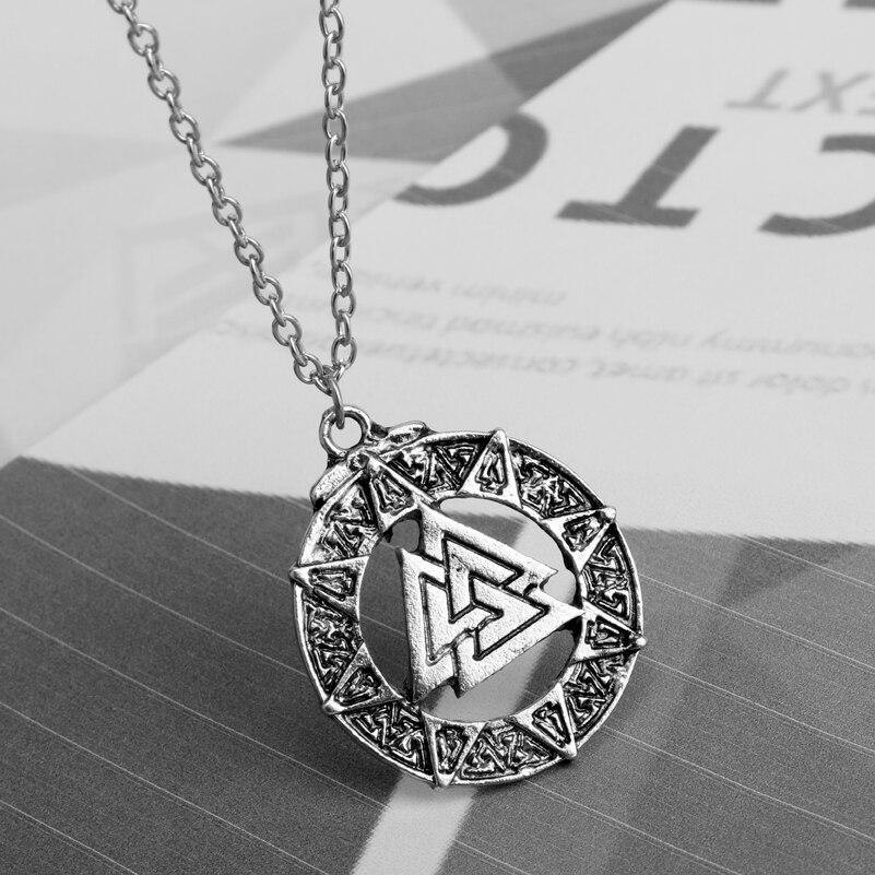 MQCHUN Viking Symbol of Norse Man pendant Necklace Valknut Warrior Scandinavian Amulet Ethnic Viking jewelry Christmas Gift