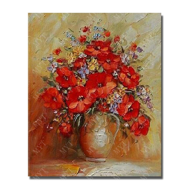 beautiful flower in vase painting handmade home goods oil painting for home sense decorating wall art - Vase Painting