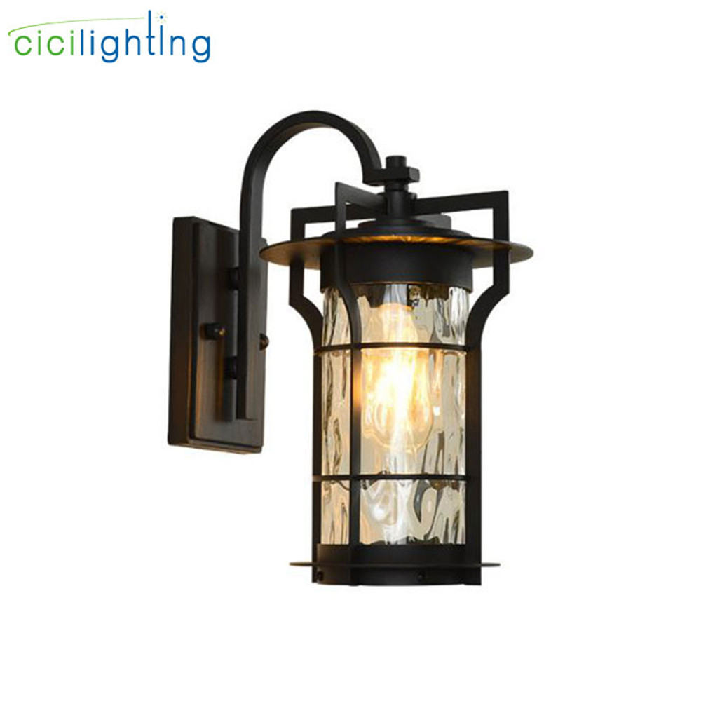 American outdoor wall lamp water glass shade proch wall lantern exterior wall waterproof black garden lamp balcony aisle lampAmerican outdoor wall lamp water glass shade proch wall lantern exterior wall waterproof black garden lamp balcony aisle lamp