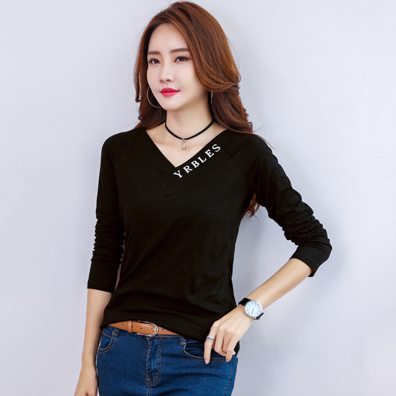 Tee Shirt Femme V Neck Tshirt Women 2018 Autumn Casual Tops Long Sleeve Vogue T Shirt Womens Korean Style White Black T Shirts