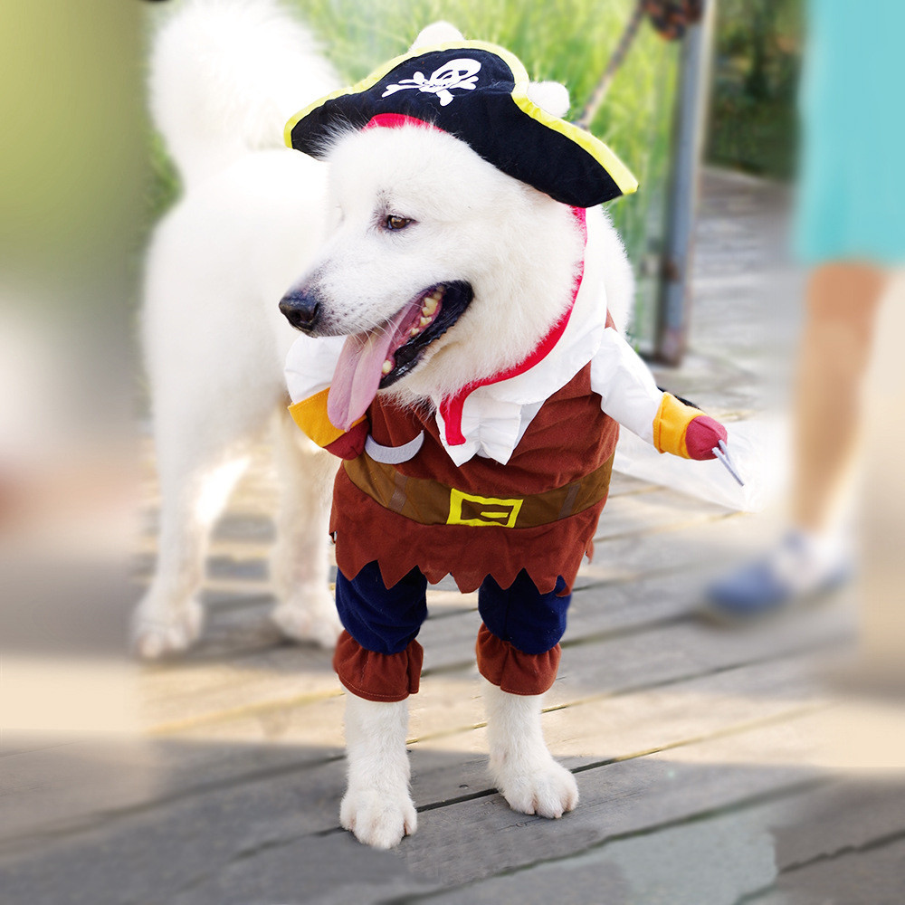 2017 S/M/L/XL Halloween Pirate Cool Cute Dog Pet Cosplay Costume Fashion Cosplay PirateS Cloth Clothing 40%