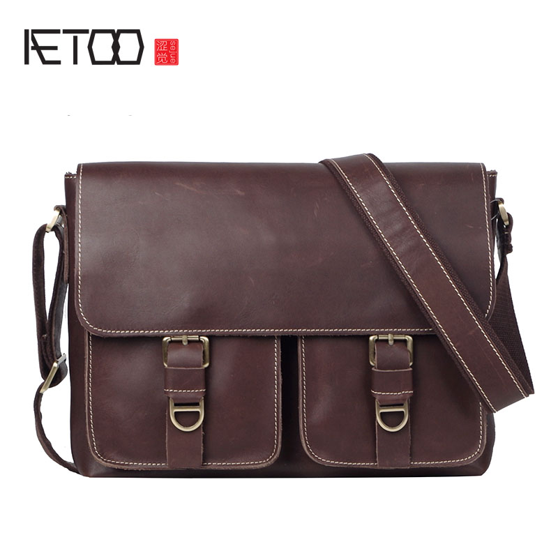 AETOO Original first layer of leather men handmade retro crazy horse leather fashion postman bag shoulder bag leather Messenger men s leather oblique cross chest packs of the first layer of leather deer pattern men s shoulder bag korean fashion men s bag