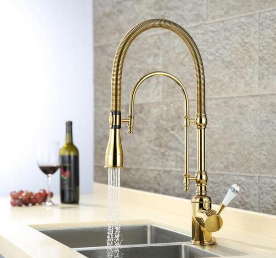 New Arrivals Pull Out Kitchen Faucet Gold Kitchen Sink Mixer Tap Top