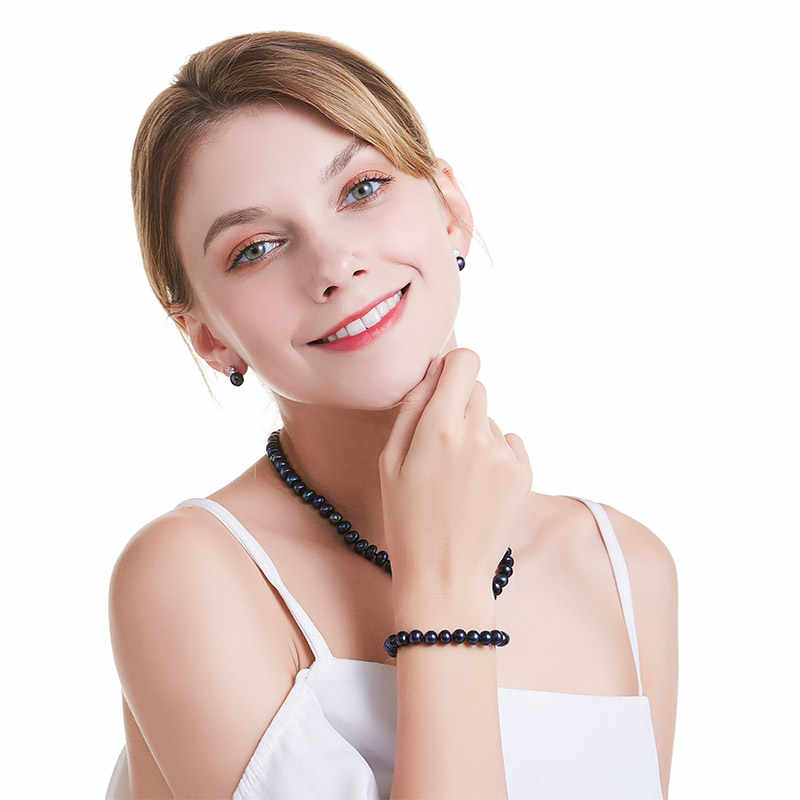 HENGSHENG 2017 New Black Natural Pearl Bracelet For Women,9-9.5 mm Big Bread Round Freshwater Pearl With Cute Love Shape Buckle