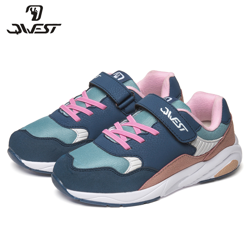 QWEST Patchwork Arch Casual Shoes Spring&Summer Breathable Leather Hook& Loop Size 31-37 Children Sneakers for Girl 91K-EW-1213 northmarch spring autumn brand genuine leather men shoes elastic breathable men casual shoes men flats sneakers shoes zapatillas