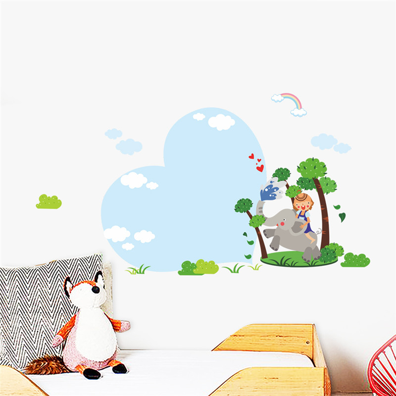 Elephant Tree Rainbow Baby Nursery Bedroom Wall Sticker Chidren Kids Room Poster Home Decor Wall Decal Mural