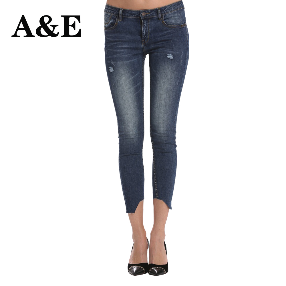 Alice & Elmer Women Mid-Rise Elastic Ankle Skinny Jeans For Women Pants Denim Vintage Stretch Jeans For Girl Casual Pants Female