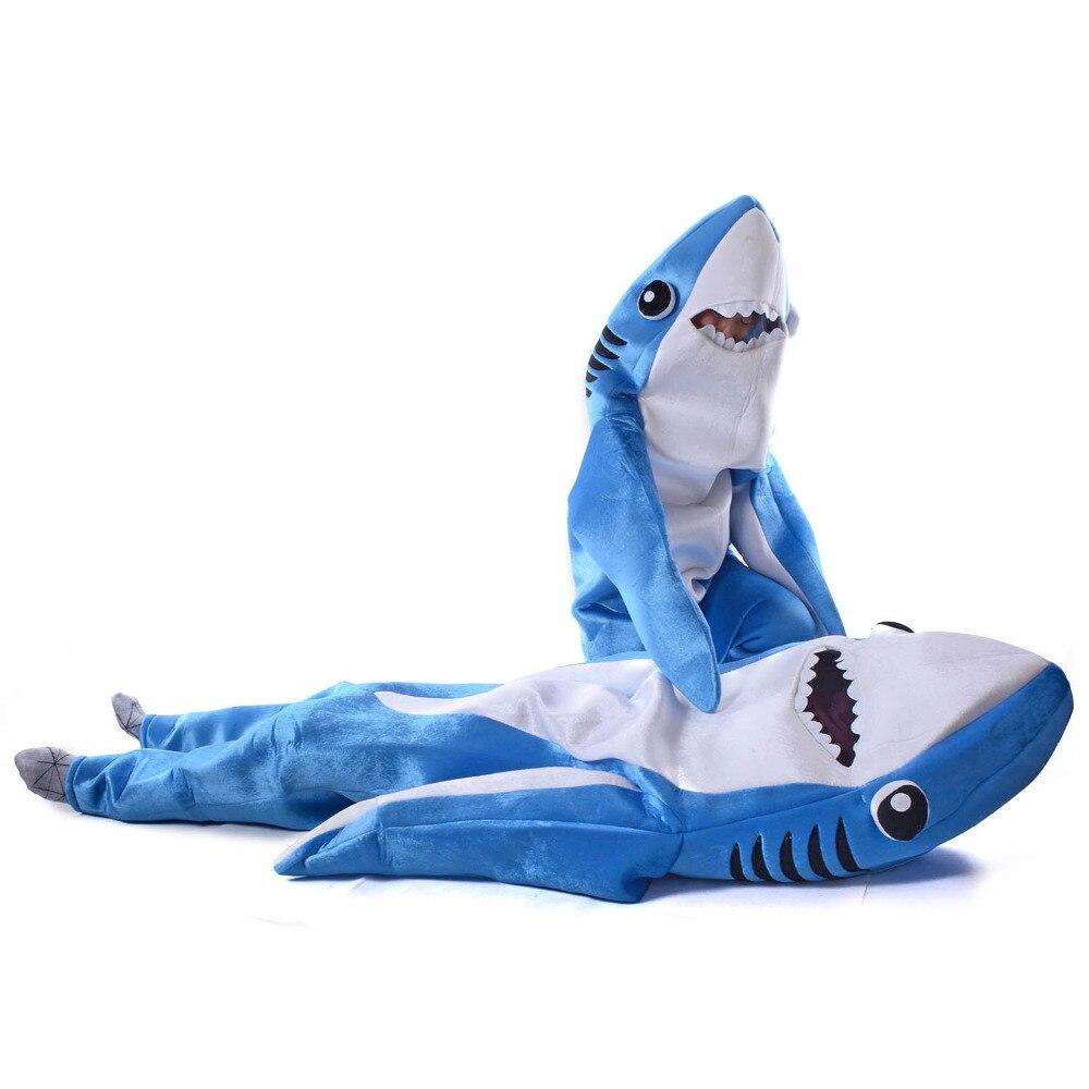 Bleu Requin Costume Adulte de Partie D'enfants Requin Cosplay Salopette Unisexe Mer Animal Costume Drôle Halloween Fantaisie Robe Mâchoires De Mascotte