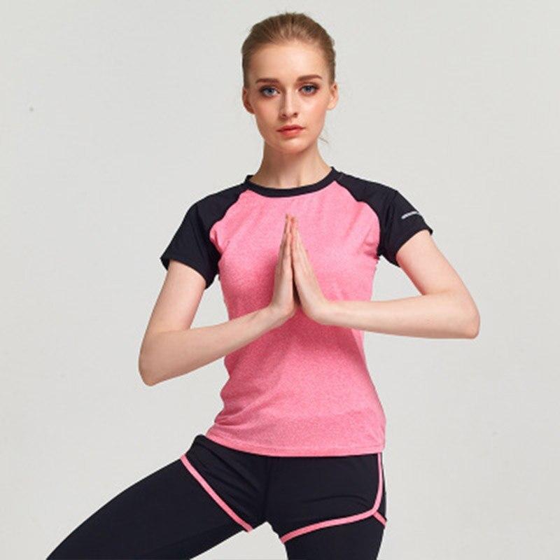 Candomom femmes Sport Yoga Top épissage chemises minces 2018 été séchage rapide respirant Sport porter pour les femmes course Yoga T-shirts