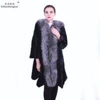 Linhaoshengyue fashon women mink fur coat with Silver Fox fur collar Real mink fur