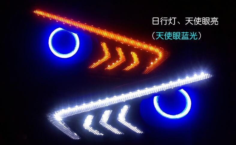 eOsuns COB Angel eye +LED daytime running light  DRL +turn signal +blue night light +Fog Lamp with Projector Lens for honda city 2x 1156 led light cob led ba15s fog lamp daytime running light drl bulb h11 h7 h4 hb4 car signal reverse light bulb cob 20w led