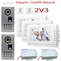 Fingerprint Camera Phone Video For Home 2 Doors 3 Apartments Video Intercom 7 ColorMonitor Home Intercom