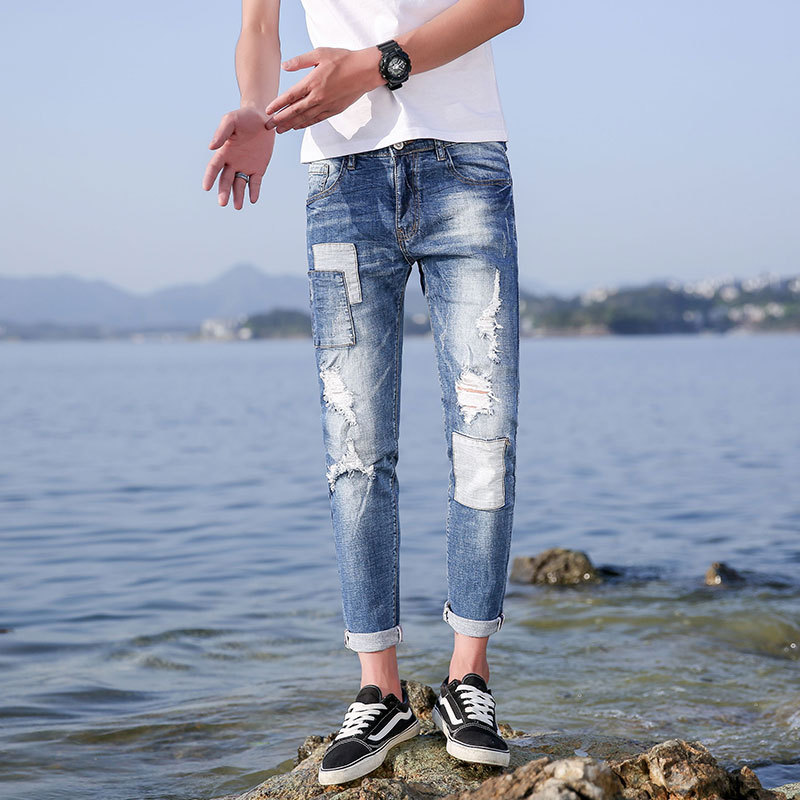 Hot new summer products mens jeans nine points pants stretch 9 points trousers mens pants 940
