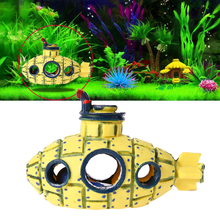 Resin Fish Tank Decoration Ornaments Aquarium Wreck Submarine Aquatic Hiding Cave Landscaping