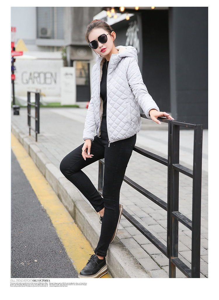 Autumn 2019 New Parkas basic jackets Female Women Winter plus velvet lamb hooded Coats Cotton Winter Jacket Womens Outwear coat 22