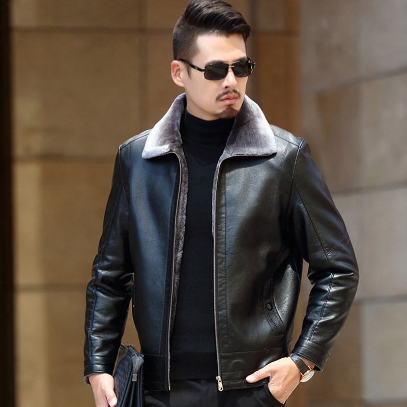 FAVOCENT 2019 New Casual Leather Jackets Men Motorcycle Keep Warm Leather Jackets Fashion Brand Men's Fleece Leather Jacket Coat