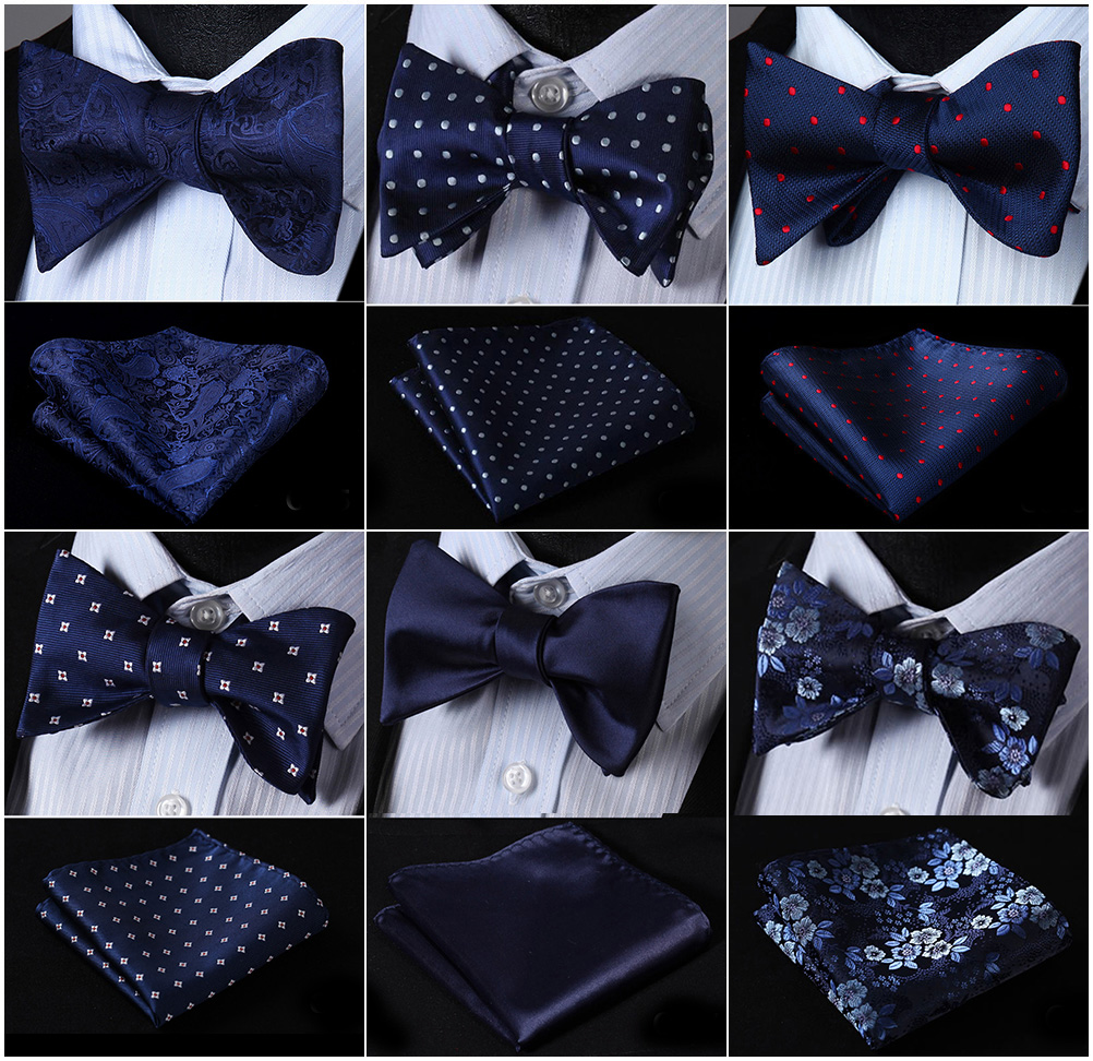 Bow Tie Handkerchief  Men's Navy Blue Self Bow Tie Set Woven Silk Plaid Party Wedding