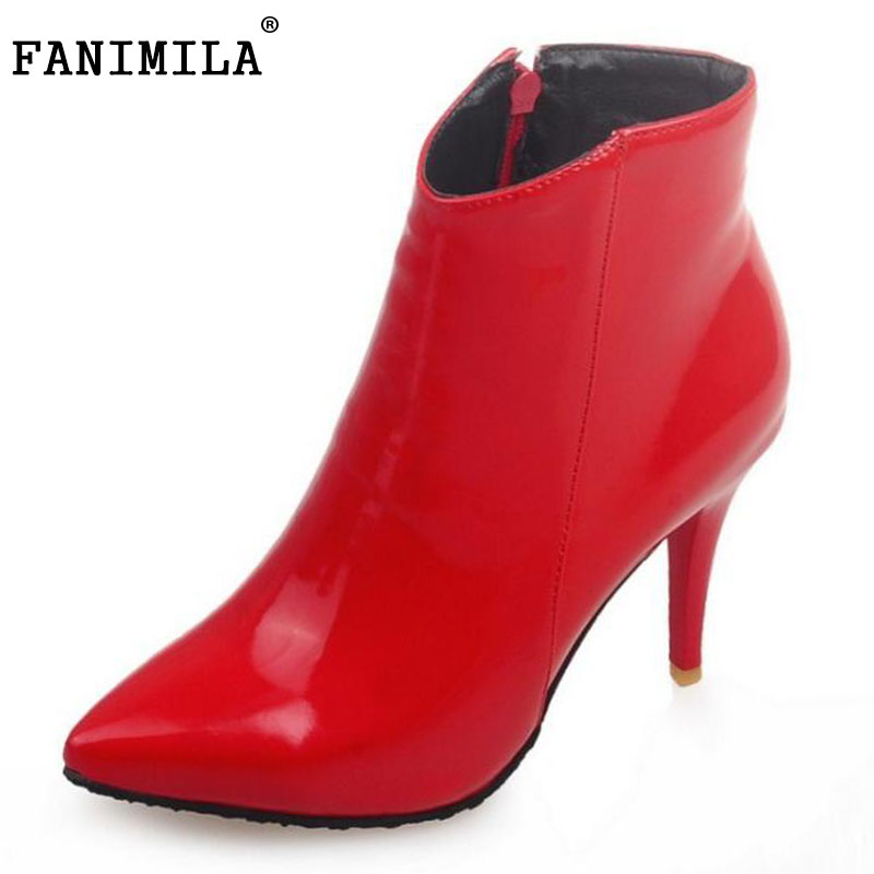 FANIMILA Ladies Pointed Toe Thin Heel Ankle Boots Women Patent Leather High Heel Shoes Woman Party Wedding Shoes Size 34-43 plus size leather shoes women high heel sexy ankle strap wedding shoes woman pumps 9cm pointed toe party ladies shoes