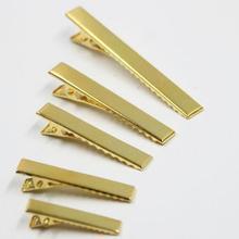 50 шт/партия Золотой одинарный зубец металлические заколки-Аллигаторы для волос заколки коркер лук 32 мм/42 мм/46 мм/56 мм/76 мм