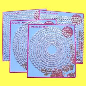Image 1 - 4 Set di Grandi Dimensioni di Taglio muore Smerlato Rettangolo Cerchio Quadrato & Ovale Scrapbook Mestiere di Carta FAI DA TE stencil Sorpresa Creazione muore
