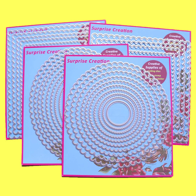 4 Set di Grandi Dimensioni di Taglio muore Smerlato Rettangolo Cerchio Quadrato & Ovale Scrapbook Mestiere di Carta FAI DA TE stencil Sorpresa Creazione muore