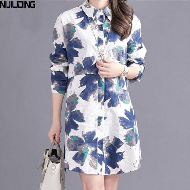 61c6f38abca NIJIUDING 2017 New Spring Autumn Shirts Women Casual Long Sleeve Printed  Cotton linen Shirt Women Tops Blusas 2 Colors