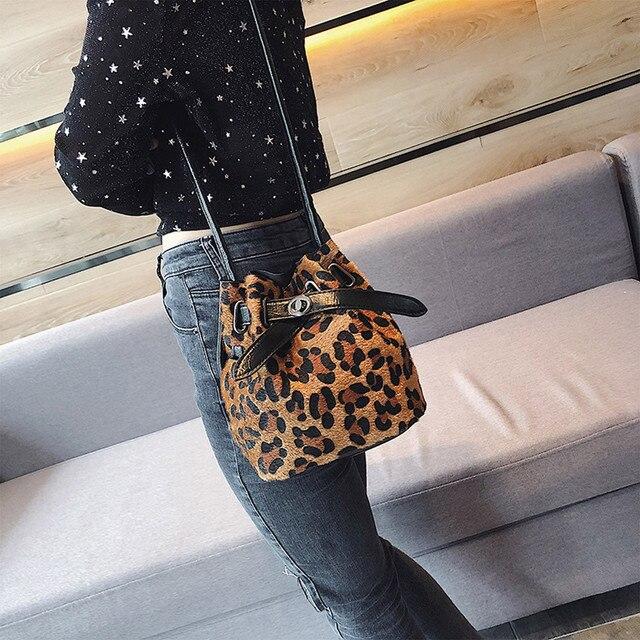 Women Bags Plush Leopard Print Shoulder Bag High Quality Casual Messenger  Crossbody Bucket Bag Wholesale Dropshipping 40 0bf4a01455a1