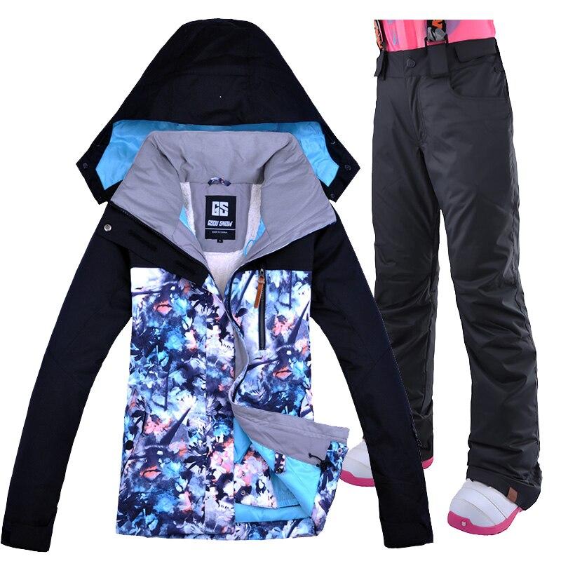 Gsou combinaison de Ski de neige femme veste et pantalon de Ski coupe-vent veste imperméable femmes sangle respirante pantalon de Ski vêtements de Ski