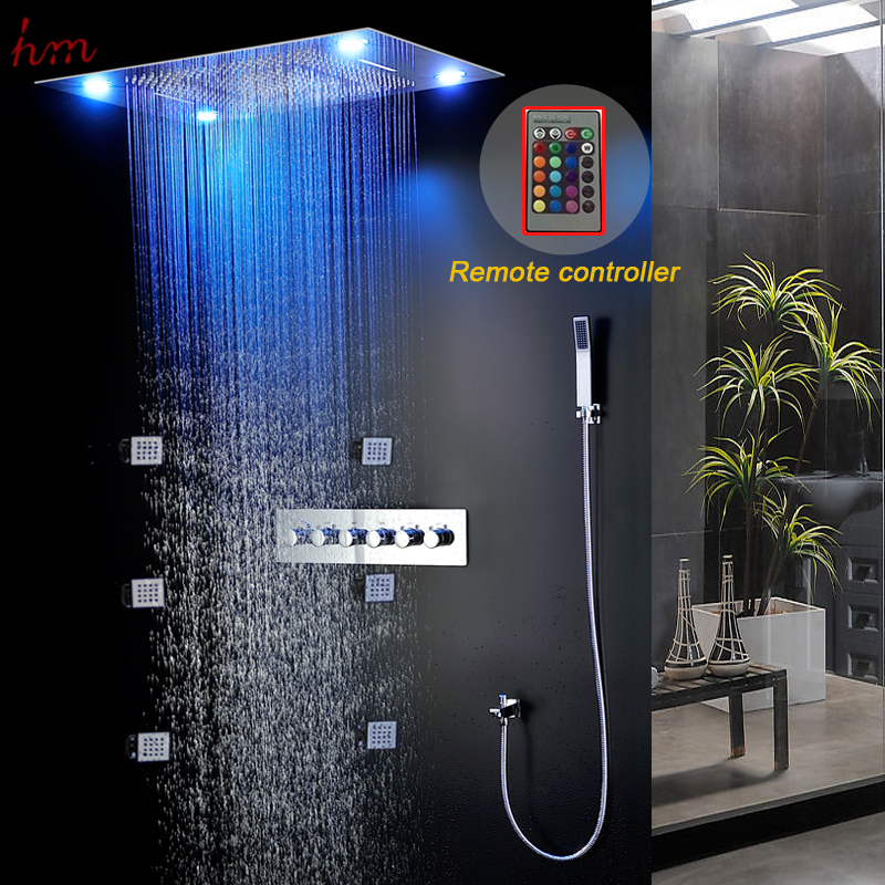 Bathroom Product 304SUS Thermostatic Big Raining Shower Heads LED Wall  Mounted Luxury Bath Sets Hand Shower / Body Jet In Shower Heads From Home  Improvement ...