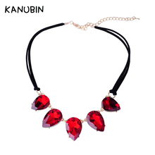 2017 New Arrival Fashion Jewelry Simple Luxurious Water Drop Shaped Crystal Velvet Choker Leather Rope Necklace Collar for Women