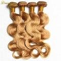 7A brasileño de la virgen del pelo 4 bundles brasileño onda del cuerpo #27 honey blonde onda del cuerpo del pelo brasileño paquetes armadura del pelo humano