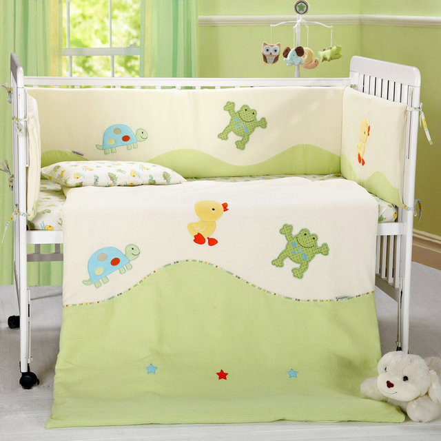 7 Pc Crib Infant Room Kids Baby Bedroom Set Nursery Velvet Cotton Bedding Green  Beige Cot