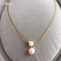 CMajor Fashion Gold Filled Wire Natural Pearl Torques Statement Jewelry Real Pearl Chokers Necklaces Pearl Jewelry Mother's Day