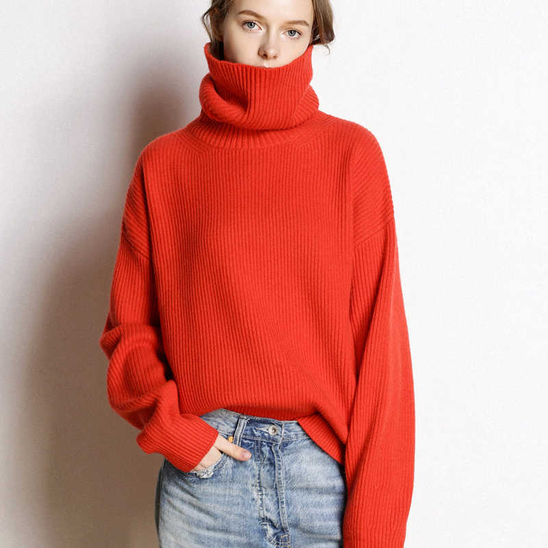 BELIARST 19 Autumn and Winter New High Collar Cashmere Sweater Women Large Size Loose Sweater Thick Knit Bottoming Pullover