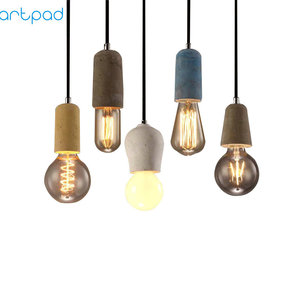 Image 2 - Artpad Industrial Retro Cement Pendant Light Kitchen Bathroom Dining Room Aisle LED Concrete Pendant Lamp E27 Edison Base Holder