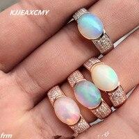 תכשיטי יוקרה KJJEAXCMY פיין כסף סטרלינג 925 סיטונאי נשי טבעת שיבוץ אופל טבעי