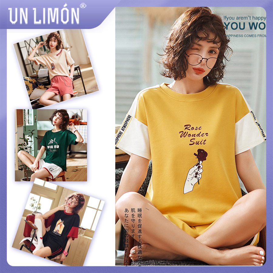 UNLIMON Women Cotton Pajamas Korean Fashion Sleepwear Sets Short Sleeve Shorts(China)
