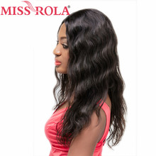Miss Rola Hair Remy Hair Brazilian Body Wave Full 4X4 Lace Frontal Short Bob Wigs for Nature Black Color Women 16inch 250(+/-1