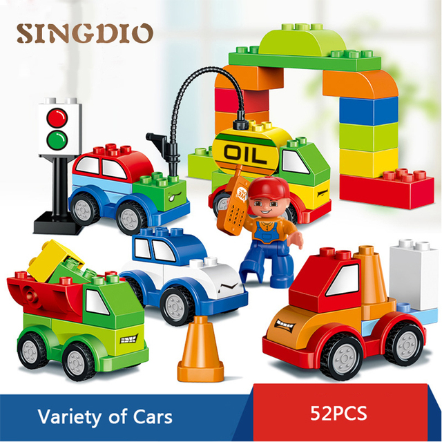 HM137 52PCS Large particle building blocks DIY toy Early Learning Enlighten train bricks compatible with all brand children toys