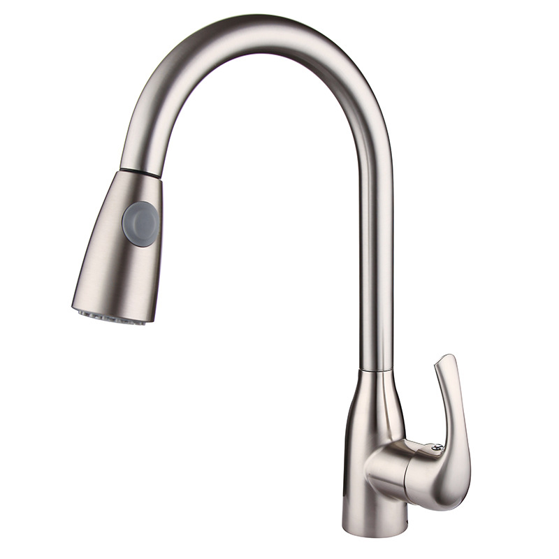 Contemporary Kitchen Faucet Brushed Nickel Faucet Pull Out All ...