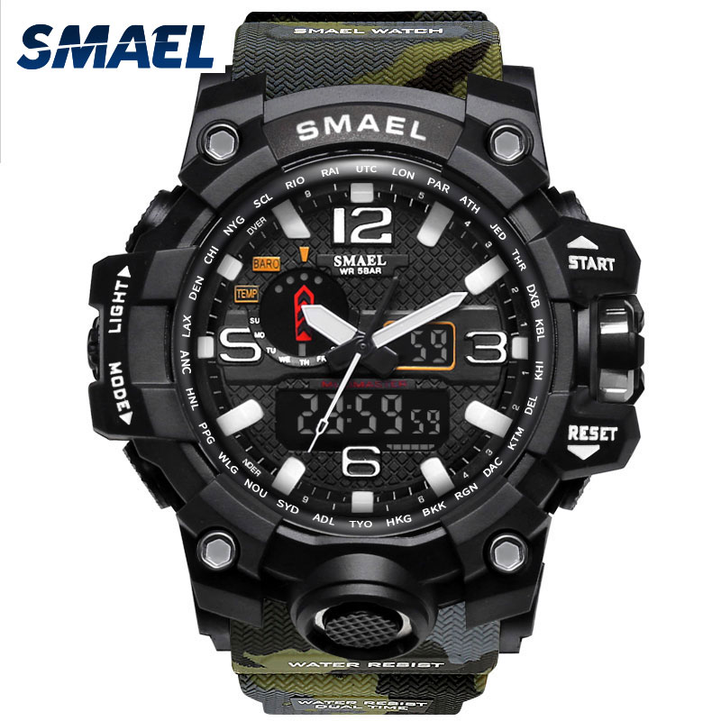 Dual Display Wristwatches Waterproof SMAEL Men Fashion Electronic Military Watches Chronograph 1545B LED Man Sport Watches