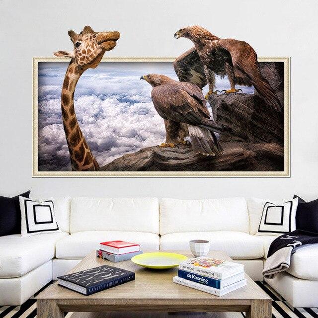 3d Photo Frame Animale Giraffa Aquila Adesivi Da Muro Per Bambini