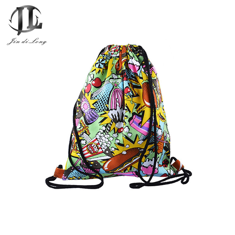 все цены на Drawstring Bag Women's Backpack Female Rucksack Backpack Street Style Backpacks Drawstring Bag Printed 3D Street Wind Travel