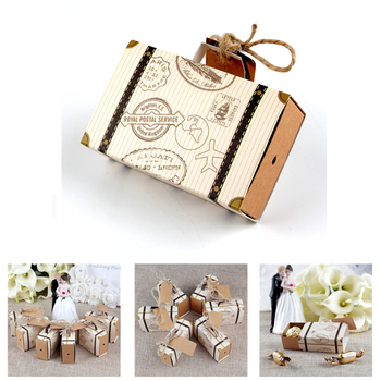 New 25pcs Mini Suitcase Kraft Candy Box Bonbonniere Wedding Gift Boxes Travel Themed Party for Anniversary Birthday Baby Show image
