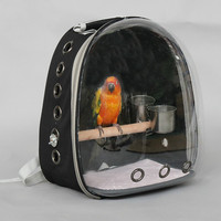 Outdoor bird backpack with feeder parrot carrying cage with wooden carp pet breathable space capsule WF704420